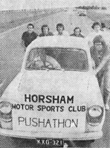 COME ON PUSH: The pushers from left, are Eric Davison, Don McMillian, Dave Donald, ??, Barry Hunt, ?? ,(behind Hunt_ and Garry Mills. ?? this week, club members were collection money from Horsham district people who sponsored the push. They ?? in ?? more than $200. PHOTO: WImmera Mail-Times