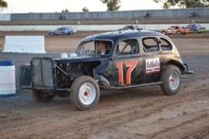 Rupanyup farmer Ron Schneider worked hard during the week to return his 1939 Ford 4 door sedan to the track and Horsham Three Litre Sedan driver, Graham Gerlach had the pleasure of taking it around the track for the night. PHOTO: Mark Cowin