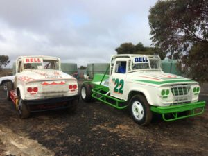 THE OLD AND THE NEW: Wes Bell unveiled his new white and lime Dodge V8 Race Truck PHOTO: Jamie Collins