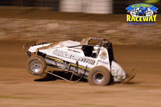 WINGLESS WHEELIE: Jack Oliver performs arial acrobatics in his Wingless Sprintcar. PHOTO: Mark Cowin