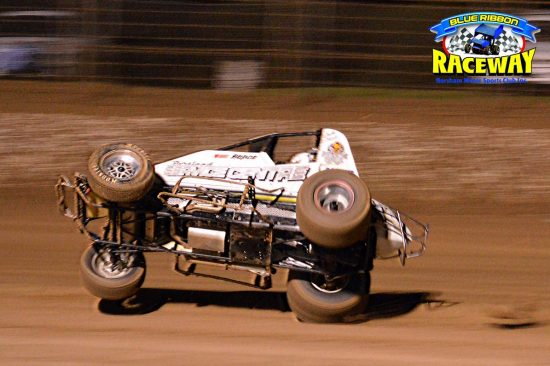WINGLESS WHOOPS: Jack Oliver performs arial acrobatics in his Wingless Sprintcar. PHOTO: Mark Cowin