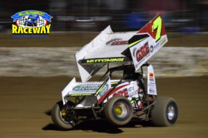 TIM HUTCHINS: The Tasmanian made it look easy leading the entire 30 lap feature race. PHOTO: M&L Speedway Photography