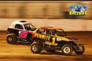 Victoria #1 Andrew Howard leads a hard charging Michael Coad in recent Super Rod action. PHOTO: M&L Speedway Photography