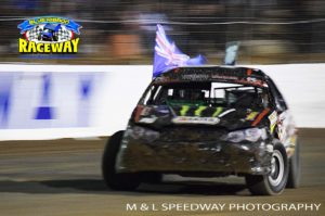 DRIFT: Cam Waters drifts around the Kalkee track in celebration of his win. PHOTO: M&L Speedway Photography